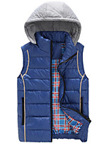 Men's Padded Coat,Simple Plus Size / Casual/Daily Solid-Polyester Polypropylene Sleeveless Blue / Red / Black