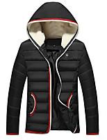 Пальто Простое Обычная На подкладке Мужчины,Однотонный На каждый день / Большие размеры Полиэстер Полиэстер,Длинный рукав КапюшонСиний /