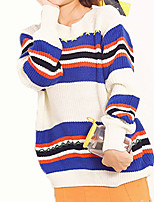 Women's Casual/Daily Simple Regular Pullover,Striped Blue Yellow Round Neck Long Sleeve Acrylic Fall Winter Medium Micro-elastic