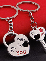 Stainless Steel Wedding Keychain Favors-2 Piece/Set Couples Keychains Beach Theme Non-personalised Key Lock Heart Design Valentine's Day