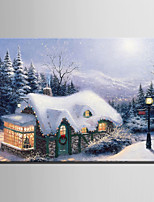 E-HOME Stretched LED Canvas Print Art Snow Mountain Forest hut Scenery LED Flashing Optical Fiber Print One Pcs