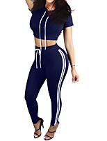 Women's Casual/Daily / Sports Active Summer / Fall Set Pant Suits,Solid Round Neck Short Sleeve Blue / Green / Purple Polyester Opaque