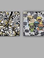 Peint à la main Abstrait / Animal Peintures à l'huile,Modern / Classique Deux Panneaux Toile Peinture à l'huile Hang-peint For Décoration