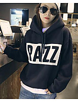 Women's Casual/Daily Simple Long Hoodies,Print White / Black Hooded Long Sleeve Cotton Fall / Winter Medium Micro-elastic