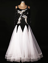 Ballroom Dance Dresses Women's Performance Spandex Draped Crystals 1 Piece Modern Dance Dress