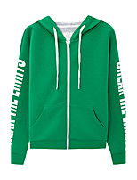 Metersbonwe Women's Casual/Daily Street chic Regular HoodiesLetter Green Hooded Long Sleeve Polyester Fall Medium Inelastic