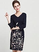 Gaine Robe Femme Sortie Sophistiqué,Broderie Col en V Au dessus du genou Manches ¾ Noir / Gris Autres Eté Taille Normale Non Elastique