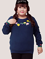 KELIXUAN  Women's Plus Size / Casual/Daily Chinoiserie Regular HoodiesFloral Blue Round Neck Long Sleeve Cotton / Polyester Fall / Winter Medium