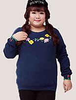 Damen Standard Hoodies-Lässig/Alltäglich / Übergröße Chinoiserie Blumen Blau Rundhalsausschnitt Langarm Baumwolle / PolyesterHerbst /