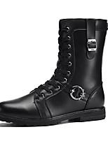 Men's Boots Fall Winter Comfort PU Casual Flat Heel Lace-up Black