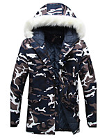 Brand Hight Qualiyt   Men's Long Padded CoatSimple Casual/Daily Camouflage-Polyester Polyester Long Sleeve Hooded Blue