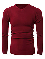 Herren Standard Pullover-Ausgehen Lässig/Alltäglich Einfach Aktiv Solide Blau Rot Beige Schwarz Grau V-Ausschnitt Langarm Baumwolle