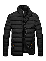 Men's Short Padded Coat,Simple Plus Size / Casual/Daily / Formal Solid-Polyester Polyester Long Sleeve Stand Blue / Red / Black / Yellow