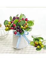 1 Branch Simulation Fruit Plant Fake Wild Strawberry Berry Fruit Flower Artificial Mulberry Fruit Berry Fruit Home Decoration Flowers