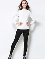 MEIDONGTAI Women's Solid Black Skinny PantsSimple Winter