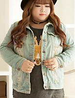 KELIXUAN Women's Casual/Daily Simple Denim JacketsSolid Shirt Collar Long Sleeve Winter Blue Polyester Medium