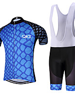 BlueLight QKI Pro Cycling Jersey with Bib Shorts Men's Short Sleeve BikeBreathable / Quick Dry/Anatomic Design/reflective stripe/5D coolmax gel pad
