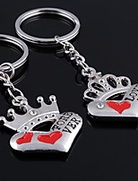 Stainless Steel Wedding Keychain Favors-2 Piece/Set Couples Keychains Beach Theme Non-personalised The Crown Heart Design Valentine's Day