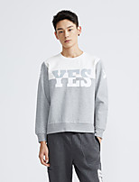 Metersbonwe Men's Casual/Daily Street chic Regular PulloverColor Block Gray Round Neck Long Sleeve Rayon Winter Medium Inelastic