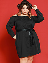 JAZZ Women's Plus Size / Casual/Daily Simple Loose DressSolid Strap Knee-length Long Sleeve Black Cotton / Nylon / Spandex Fall Mid Rise