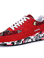 Women's Athletic Shoes Spring Summer Fall Winter Comfort PU Casual Athletic Flat Heel Lace-up Black Blue Red