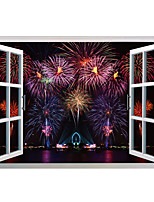 Fireworks Wall Stickers Window Stickers Scenery Decals for Family Home Decor