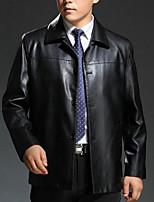 Мужчины На каждый день / Большие размеры Однотонный Кожаные курткиПростое Черный / Коричневый Длинный рукав,Овчина