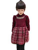 Girl's Casual/Daily Solid Dress,Cotton Blend Winter Long Sleeve
