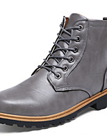 Men's Boots Spring Fall Winter Comfort Leatherette Outdoor Casual Flat Heel Black Brown Gray