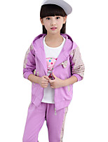 Girl Casual/Daily Solid Sets,Cotton Blend Spring / Fall Long Sleeve Clothing Set