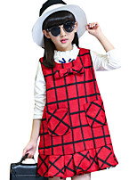 Girl's Casual/Daily Plaid Dress,Cotton Blend Spring / Fall Sleeveless