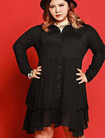 JAZZ Women's Plus Size / Casual/Daily Simple Loose DressSolid Shirt Collar Above Knee Long Sleeve Black Polyester Fall Mid Rise Micro-elastic