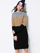 MEIDONGTAI Women's Plus Size / Casual/Daily Simple Shift DressPrint Round Neck Above Knee Long Sleeve Black Cotton / Polyester Fall / Winter Mid Rise
