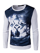 Men's Plus Size / Casual/Daily Simple / Active Regular Hoodies,Print / Color Block Blue / White / Black Round Neck Long Sleeve Cotton