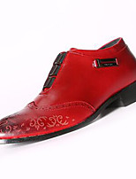 Черный Коричневый Красный-Мужской-Для офиса Повседневный Для вечеринки / ужина-Полиуретан-На низком каблуке-Удобная обувь-Туфли на