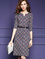Women's Casual/Daily Simple A Line Dress,Print V Neck Knee-length ¾ Sleeve Gray Polyester Fall Mid Rise Inelastic Medium
