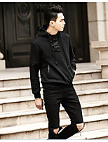 Men's Casual/Daily Simple Regular Hoodies,Solid Black Hooded Long Sleeve Cotton Fall / Winter Medium Micro-elastic