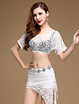 Belly Dance Outfits Performance Lace Lace 2 Pieces Short Sleeve Natural Top / Skirt No Include Waist Chain