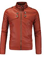 Мужчины На каждый день / Большие размеры Однотонный Кожаные куртки Воротник-стойка,Винтаж / Простое / Уличный стиль Осень / ЗимаЧерный /