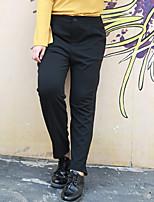 Damen Übergrössen Gerade Chinos Hose-Lässig/Alltäglich / Arbeit Einfach einfarbig Mittlere Hüfthöhe Reisverschluss / Knopf Polyester