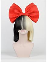 le nouvel arc de cheveux réglé frange longue demi à moitié noir blond sia style perruques de fête de noël de haut - fin filet grand arc