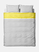 Stripe Duvet Cover Sets 4 Piece Cotton Contemporary Reactive Print Cotton Twin / Queen / King1pc Duvet Cover / 2pcs Shams / 1pc Flat