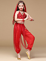 Belly Dance Outfits Children's Performance Chiffon Polyester Gold Coins Sequins 6 Pieces Sleeveless NaturalWaist Belt Pants Bracelets
