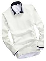 Herren Standard Pullover-Ausgehen Lässig/Alltäglich Einfach Solide Blau Rot Beige Schwarz Grau Gelb V-Ausschnitt Langarm BaumwolleHerbst
