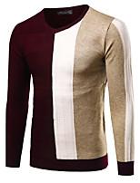 Herren Standard Pullover-Lässig/Alltäglich Ausgehen Einfach Aktiv Einfarbig Blau Rot Schwarz Rundhalsausschnitt Langarm Baumwolle Winter