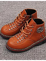 Boy's Boots Fall / Winter Comfort Microfibre Casual Flat Heel Rivet Black / Brown Walking