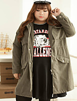 KELIXUAN  Women's Plus Size / Casual/Daily Simple Trench CoatEmbroidered Shirt Collar Long Sleeve Winter Green Polyester