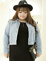 KELIXUAN  Women's Plus Size / Casual/Daily Simple Denim JacketsStriped Shirt Collar Long Sleeve Fall / Winter Blue Cotton / Polyester