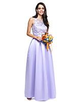 Lanting Bride® Gulvlang Blonder Sateng Elegant Brudepikekjole - Ballkjole Besmykket med Belte / bånd