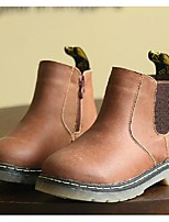 Boy's Boots Fall Winter Comfort Cowhide Casual Flat Heel Black Yellow Coffee Walking